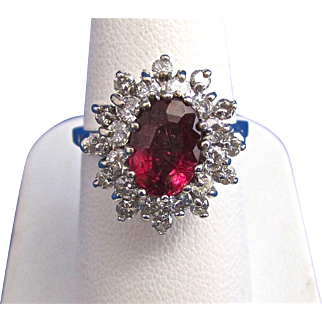 Vintage Estate Natural Rubellite & Diamond Engagement/Birthstone/Anniversary Ring 14K White Gold