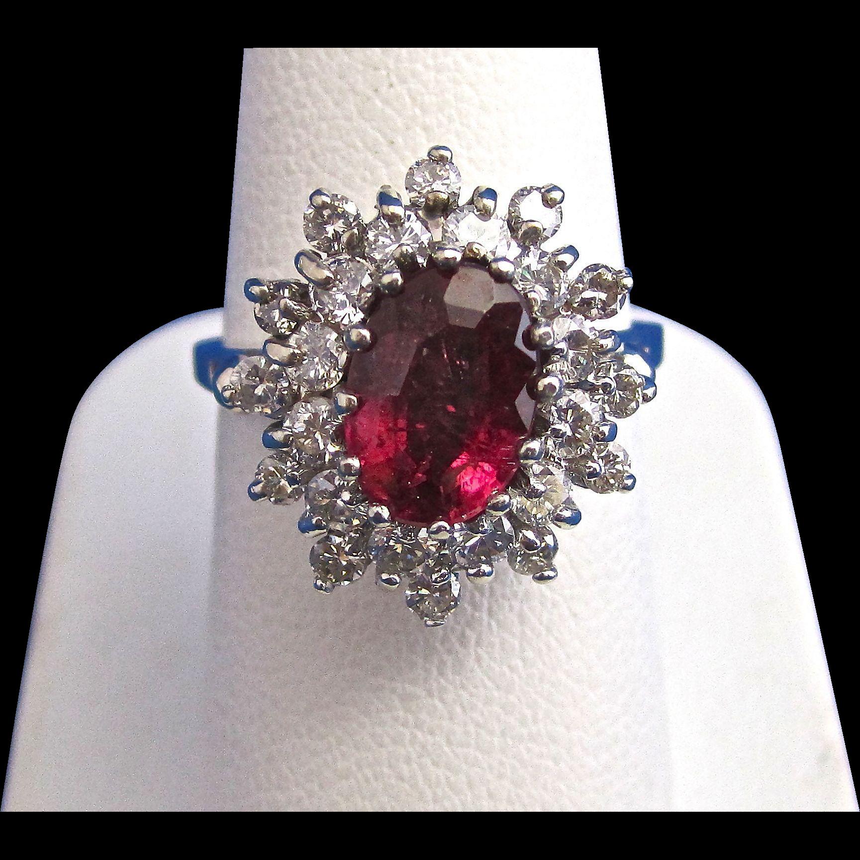 Vintage Estate Natural Rubellite & Diamond Engagement/Birthstone Halo Ring 14K White Gold