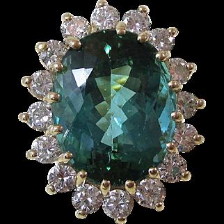 Spectacular Tourmaline & Diamond Vintage Ring 14K