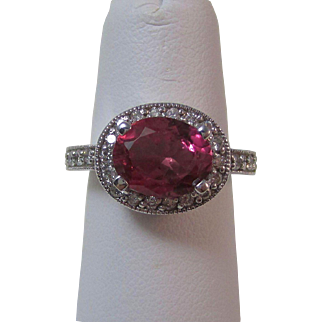 Estate Natural Pink Tourmaline & Diamond Halo Engagement Birthstone Anniversary Ring