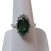 Natural Green Tourmaline & Diamond Engagement Birthstone Estate Ring 14K