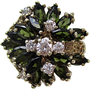 1950's Estate Large Natural Green Tourmaline & Diamond Engagement Anniversary Birthstone Ring 14K