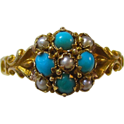 Delightful Turquoise & Seed Pearl Antique Ring 18K