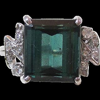 Fabulous 6.09 Carat Tourmaline & Diamond Vintage Ring 18K