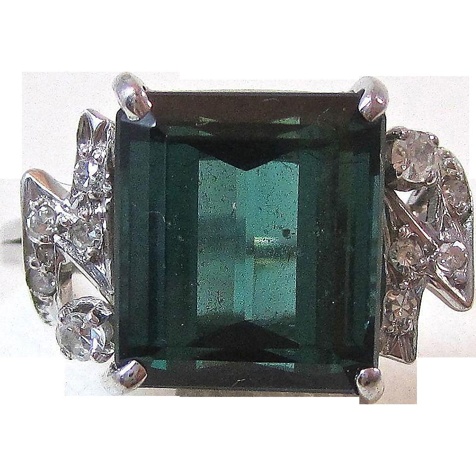 Vintage Estate Tourmaline & Diamond Engagement Wedding Birthstone Ring 18K White Gold