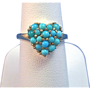 Vintage Estate 1950's Turquoise Heart Ring 14K