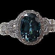 Vintage Estate Zircon & Diamond Engagement Anniversary Birthstone Ring 14K