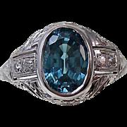 Vintage Estate 1950's 2.28 Zircon & Diamond Engagement Wedding  Ring 18K