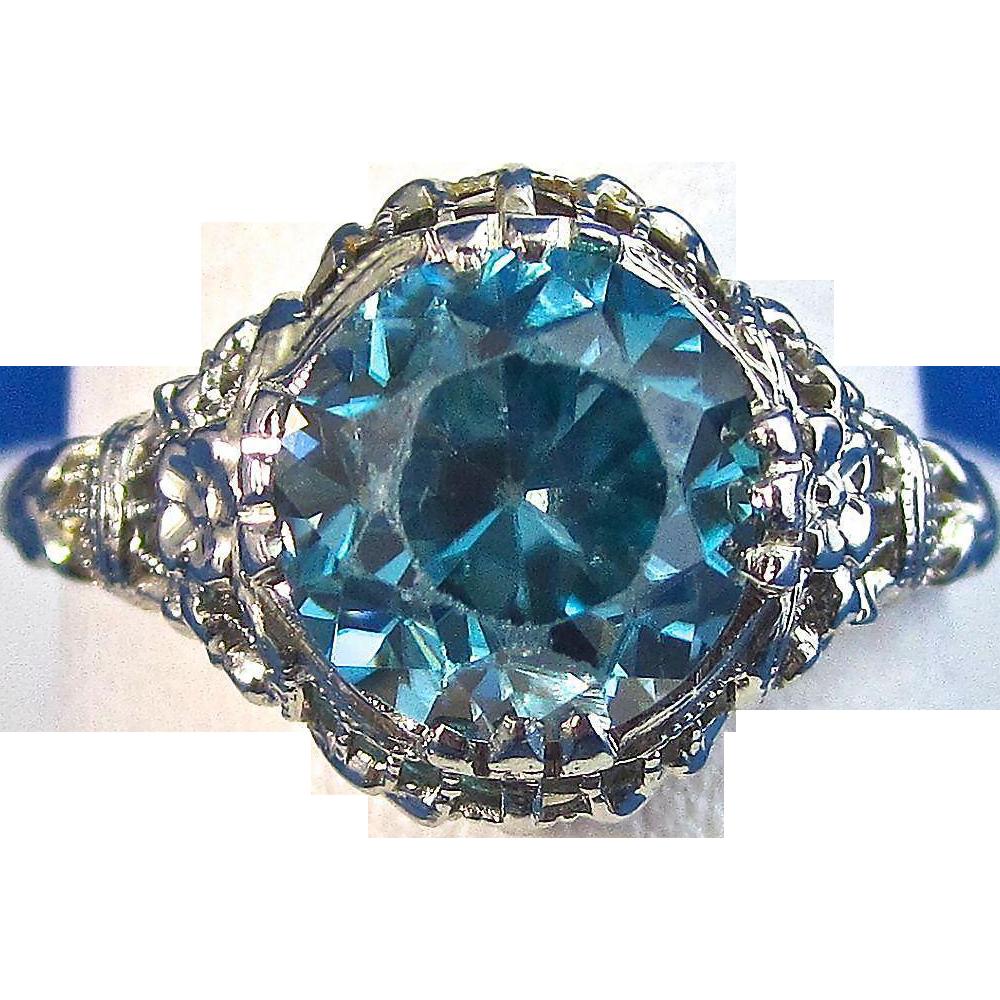 Vintage Estate 1920 S Natural Zircon Engagement Ring 18k