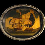 Antique English Tole Tray Depicting 1812 Sea Battle