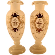 Pair French Art Nouveau Opaline Vases, c1890