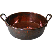 Large Antique English Copper Preserving Pan, c1890