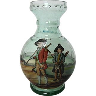 18th C Decanter, Hand Painted Golf Scene