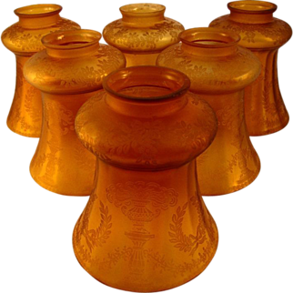 Set of 6 Gold Iridescent Lamp Shades, c1890