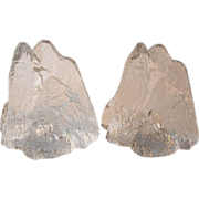 """Swedish Crystal """"Mountain"""" Bookends"""