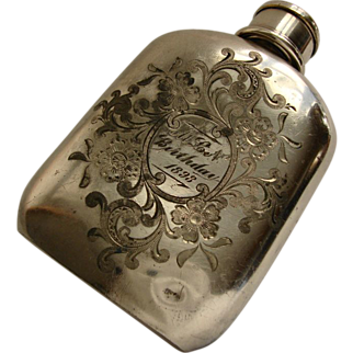 Art Nouveau Silver Plated Flask, c1898