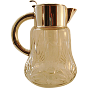 Glass/Silver Plated Pitcher with Ice Insert, c1960