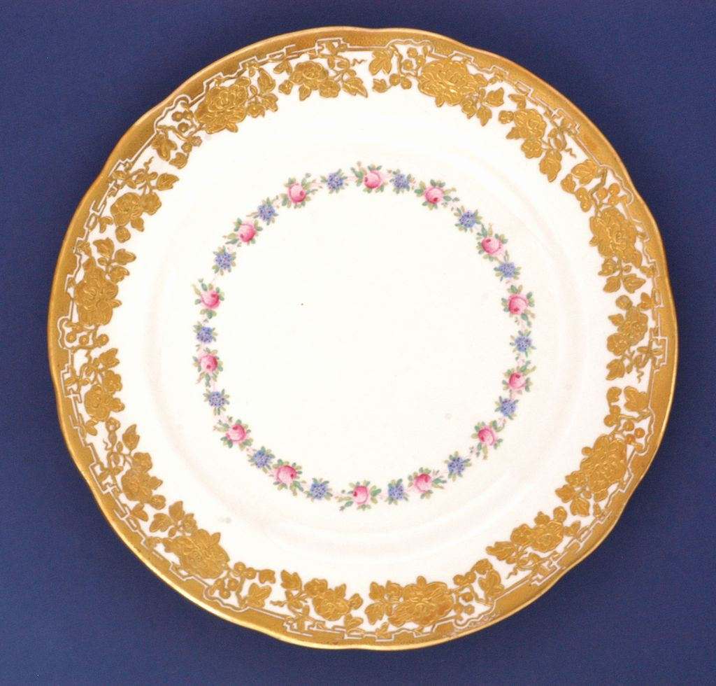 Antique Hammersley Dinner Plates with Cabbage Roses and Encrusted Gold Rims  , c1895