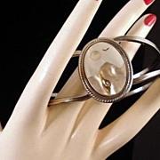 Inlaid Hinged Cuff Bracelet