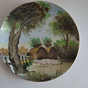"Hand Painted 8"" Plate Pastoral Sheep Made in Japan artist signed"