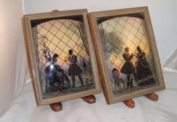 Pair of Reverse Painted Pictures on Bubble Glass
