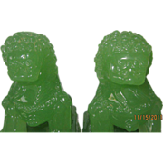 Chinese Peking Glass Foo Dogs in Green Jade Coloring - Pair
