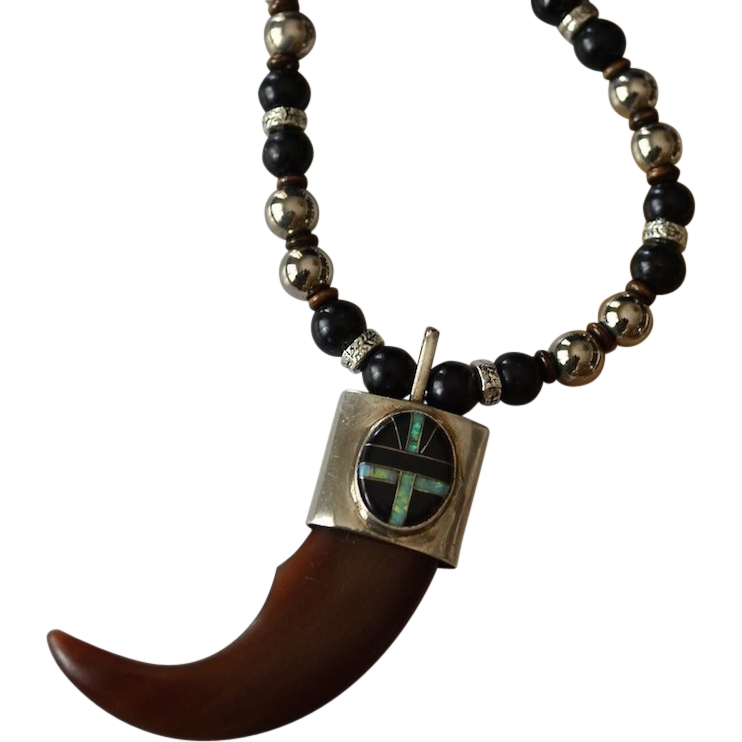 Unisex Tribal Tooth Pendant with Onyx Opal Medallion