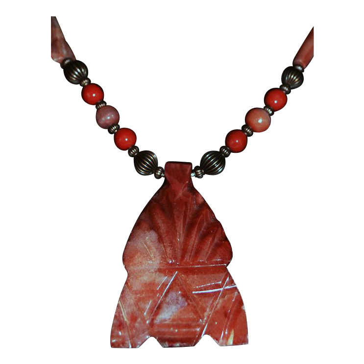 Carved Aztec Spirit Warrior Stone Pendant Necklace