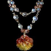 Carved Jadeite Bat Amulet Necklace  Good Fortune