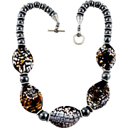 Artisan Speckled Polished Agate & Hematite Beaded Necklace