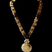 Vintage Perfume Sachet Pendant Necklace Etched Casing