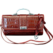 Vintage Designer Red Faux Croc Handbag Cross-Body Style