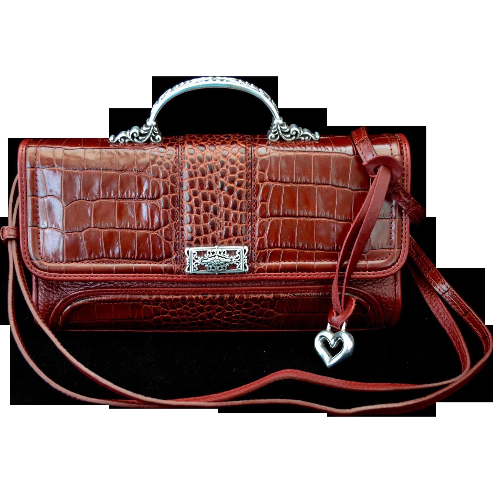 Vintage Designer Red Faux Croc Handbag Cross-Body Style