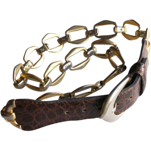 High Fashion Dior Leather Link Chain Belt