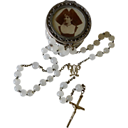 Ornate French Silver Metal Rosary Case With Opaline Glass Rosary