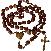 19th Century Lourdes France Carved Coquilla Nut & Bronze Nun's Belt Rosary