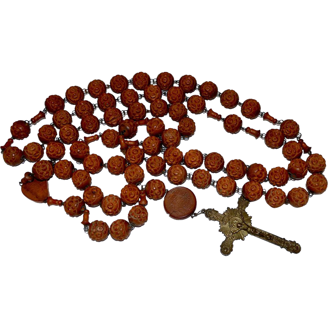 French de Lourdes Carved Coquilla Nut Rosary Bronze Crucifix