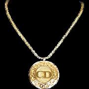 Vintage DIOR Designer Logo Disc Necklace