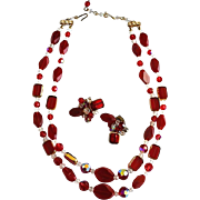 Vintage  Vibrant Colored Cut Crystal Necklace & Earring Set