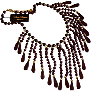Russian Designer Viktoria Hayman Ebony Wood Bib Necklace / Earrings