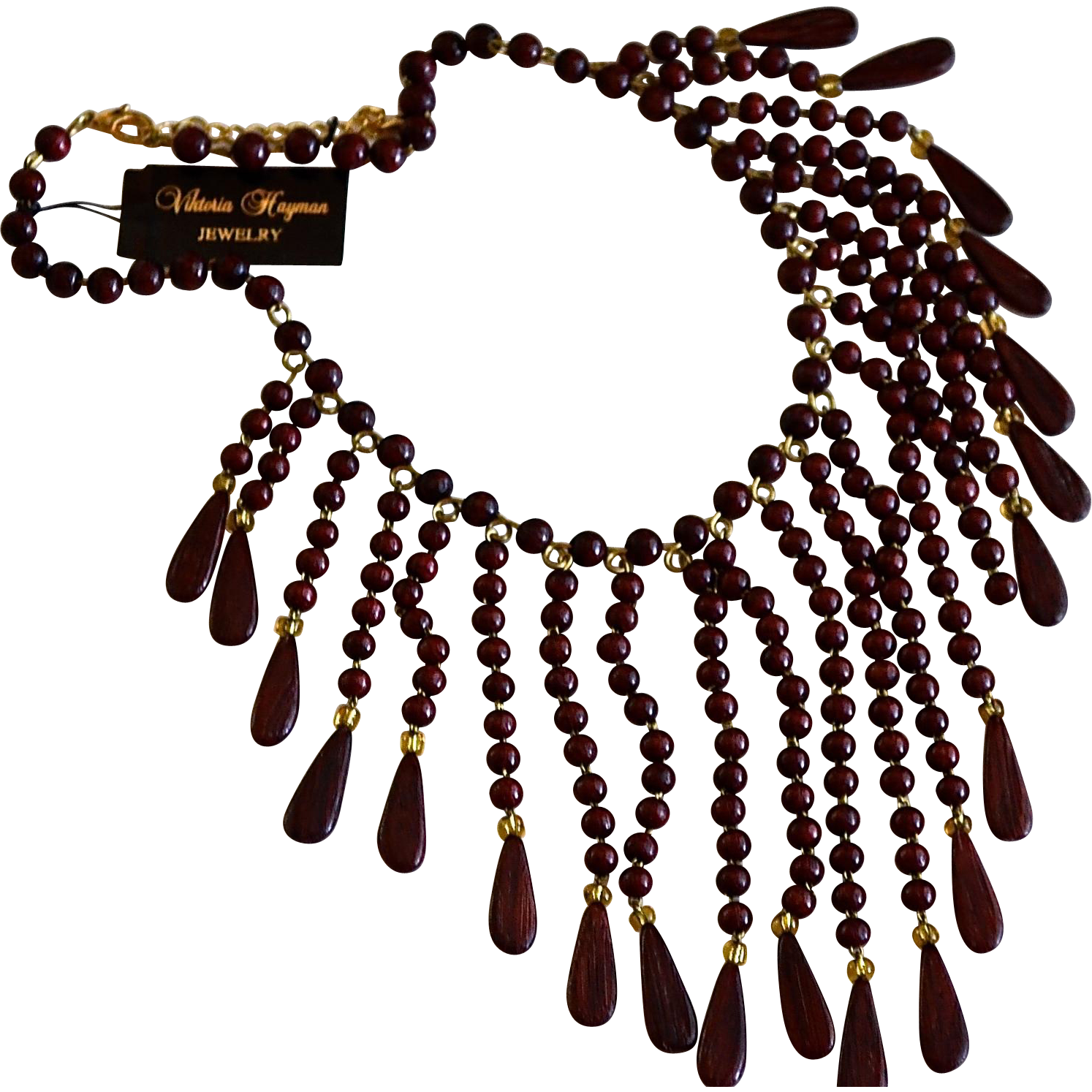 Russian Designer Viktoria Hayman Ebony Wood Bib Necklace / Earrings