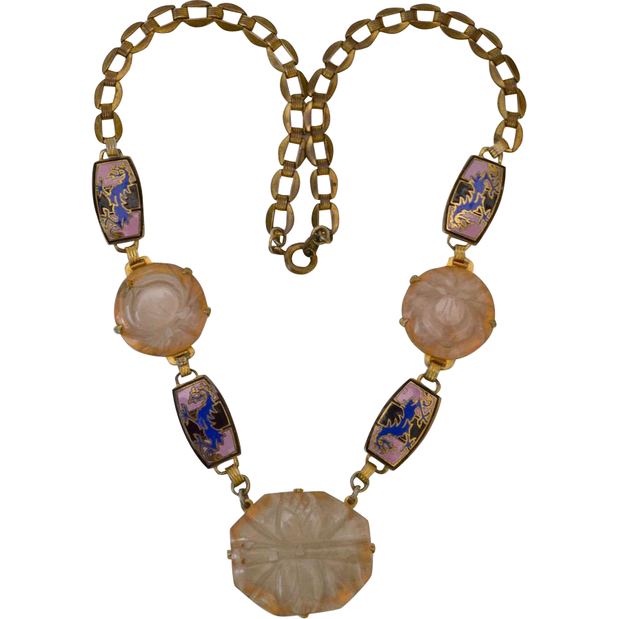 Asian Art Deco Rose Quartz Medallion Cloisonne Brass Necklace