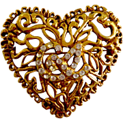 "Designer Christian Lacroix 18K Gold Plate Crystal Vine ""Heart"" Brooch"