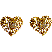 Designer Christian Lacroix 18K Gold Plate Crystal Vine Heart Earring Clips