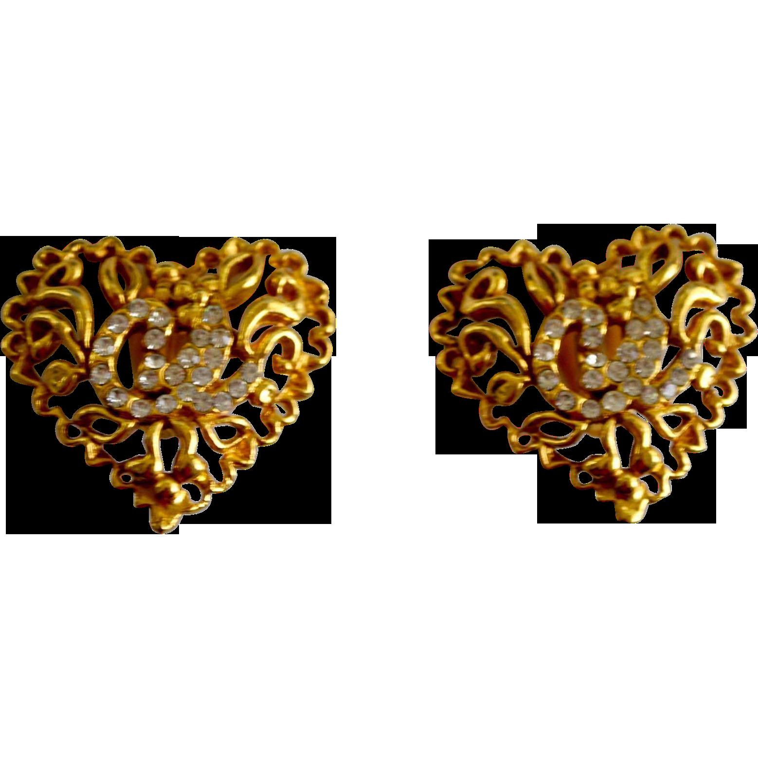 Designer Christian Lacroix 18K Gold Plate Crystal Vine Heart Earring Clips