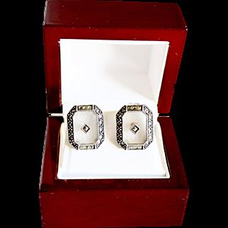 Vintage Judith Jack Sterling Camphor Glass Victorian Style Earrings