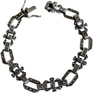 Victorian Style Marcasite / Sterling Silver Delicate Link Bracelet