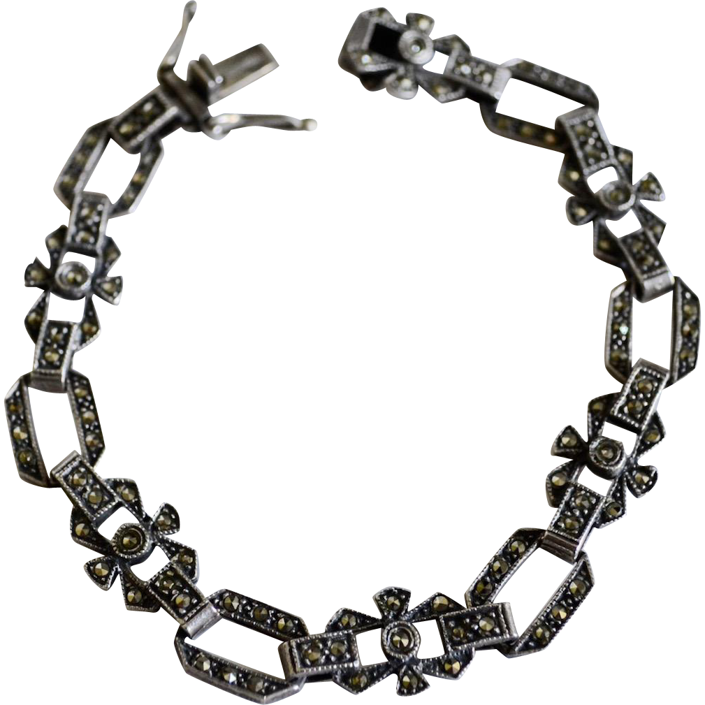 Victorian Style Marcasite / Sterling Silver Delicate Link Bracelet