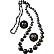 Opera Length Hematite (Black Diamonds) Beaded Necklace & Earrings in Sterling