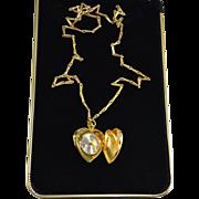 Vintage Ladies Heart Locket Pendant Quartz Watch